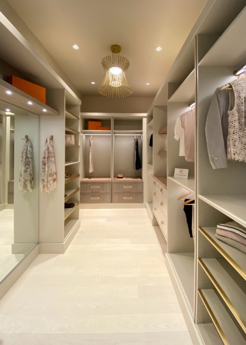 Our goal eith our design was to create dressing spaces evoking the feel of high-end boutiques.